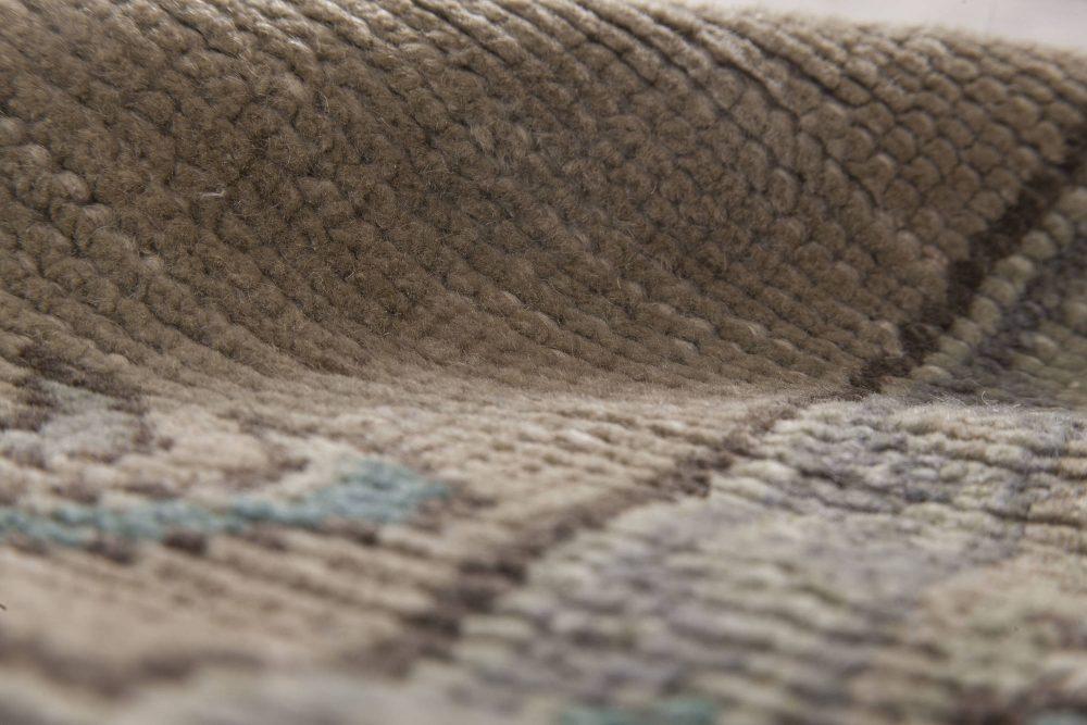 Oushak Aquamarine and Beige Handwoven Wool Runner Fragment Rug BB6490