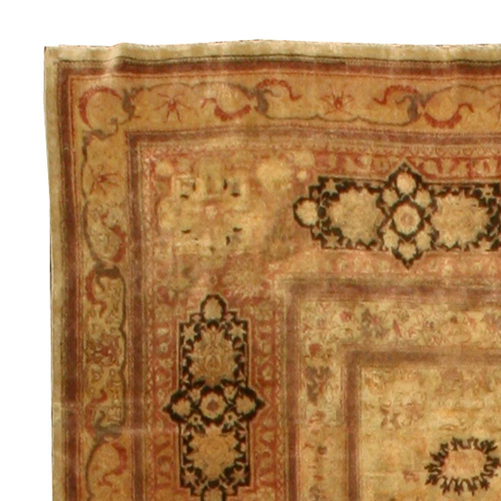 Antique Turkish Sivas Cinnamon Brown Wool Carpet BB1807