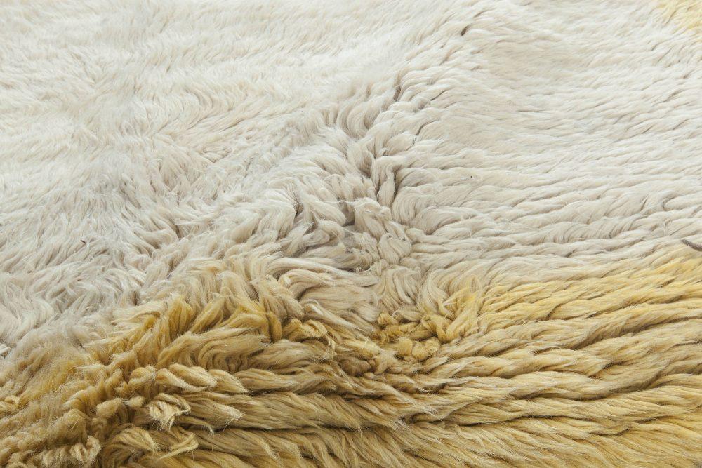 Turkish Tulu Cream and Yellow Wool Rug BB3203