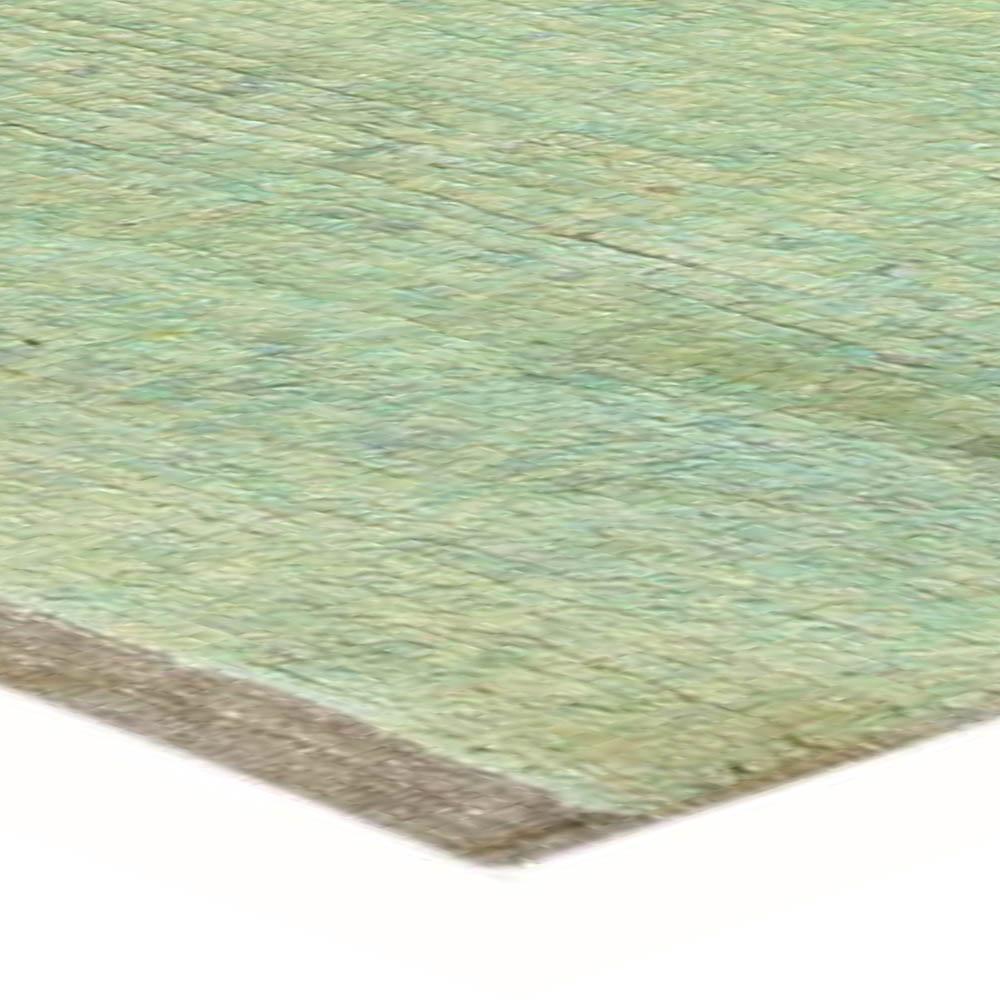 Mid Century Turkish Tulu Green Handwoven Wool Rug BB3974