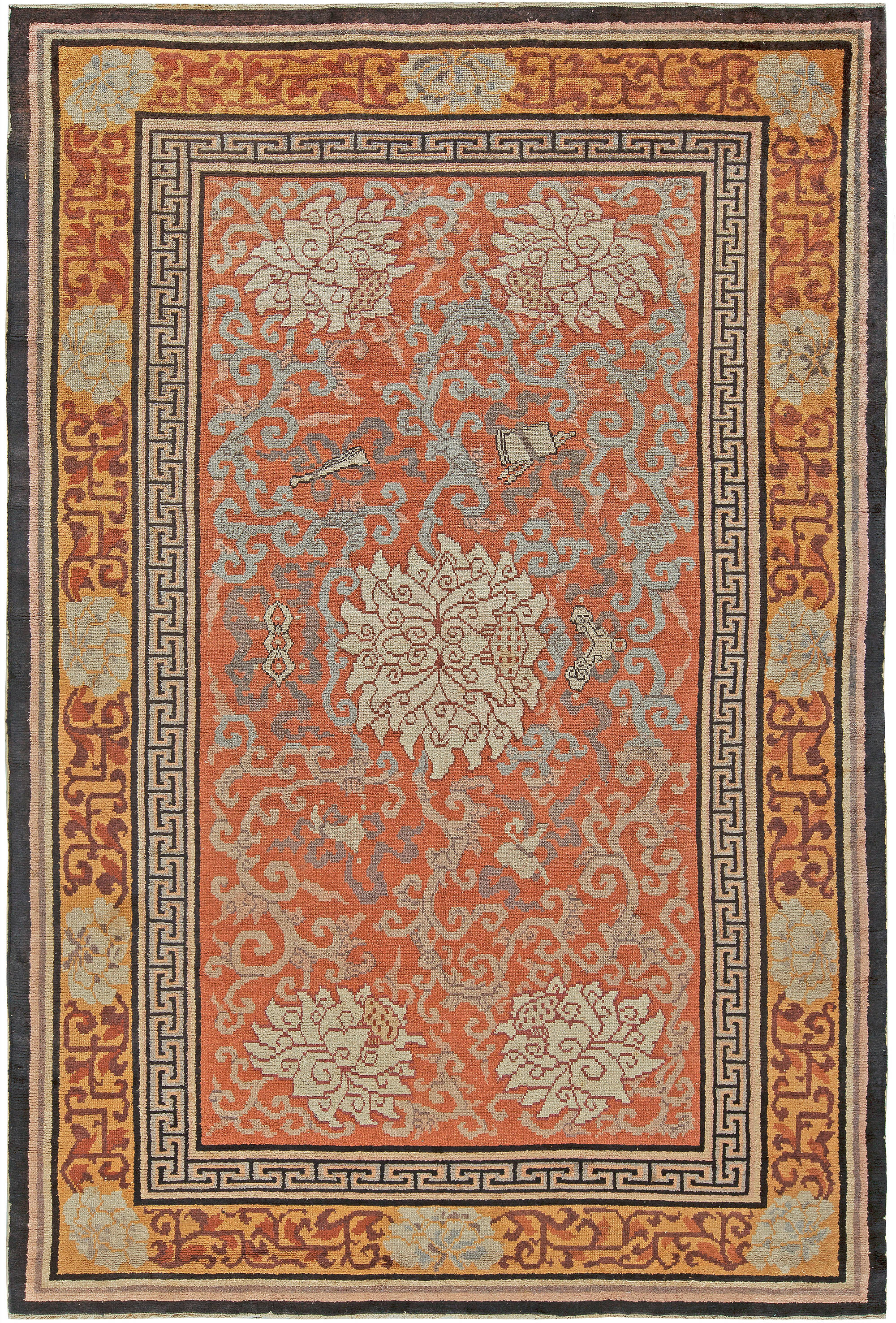 Cream and Gray Hand Knotted Silk Rug