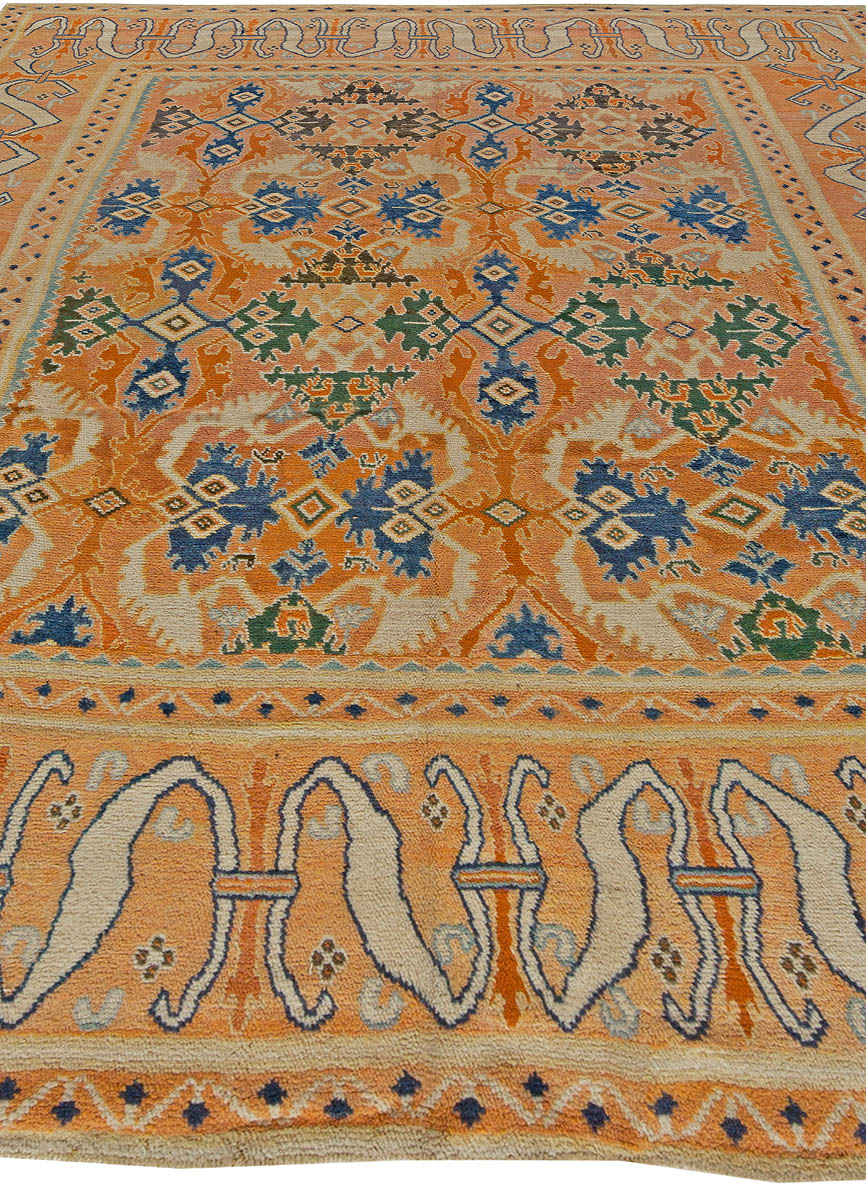 18th Century Spanish Cuenca Handwoven Muted Orange, Blue and Green Rug BB5610