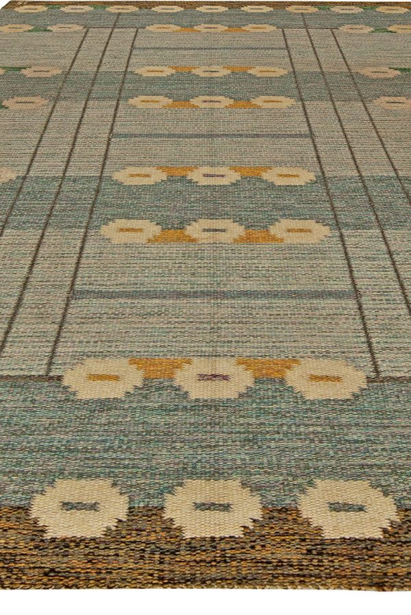 Vintage Swedish Flat Weave Rug Signed by Ingegerd Silow BB5627