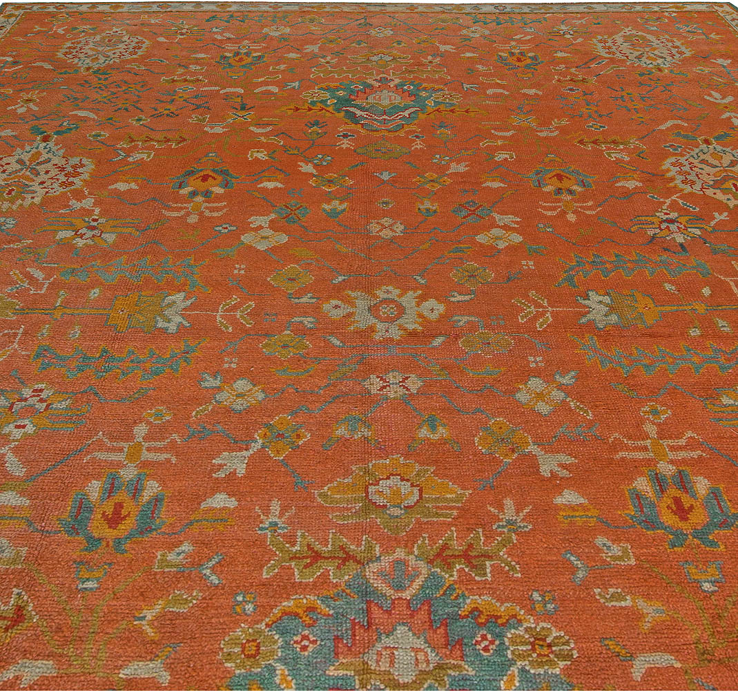 1900s Turkish Oushak in Red, Orange and Blue Shades (Size Adjusted) BB5531