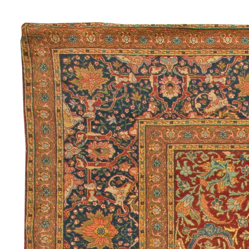Turkish Hereke Antique Floral Red, Green, Blue and Yellow Handwoven Rug BB6044