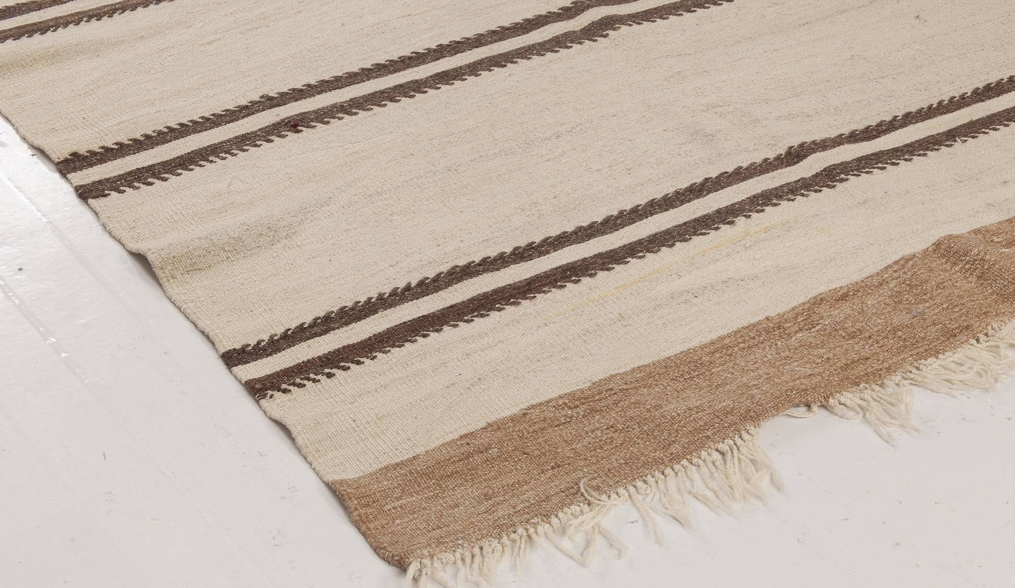 Midcentury Striped Turkish Beige and Brown Hand Knotted Wool Kilim Rug BB6503