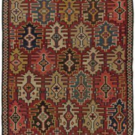 Kuba Red, Black, Green and Beige Hand Knotted Wool Kilim Rug BB6268