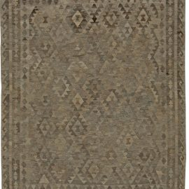Midcentury Turkish Geometric Deep Brown Kilim Wool Rug BB5467