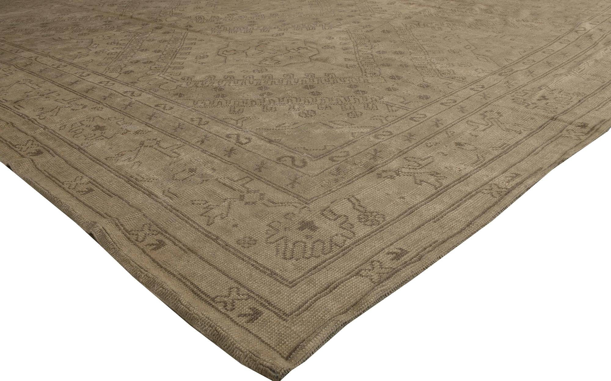 Antique Turkish Oushak Dark and Light Brown Handwoven Wool Rug BB5605