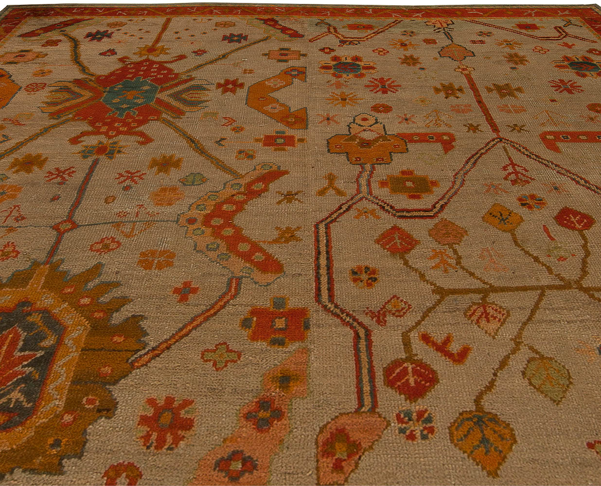 Vintage Turkish Oushak Beige and Orange Wool Rug (Size Adjusted) BB5449