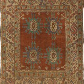 19th Century Turkish Brick Red and Sandy Beige Handwoven Wool Rug BB5437