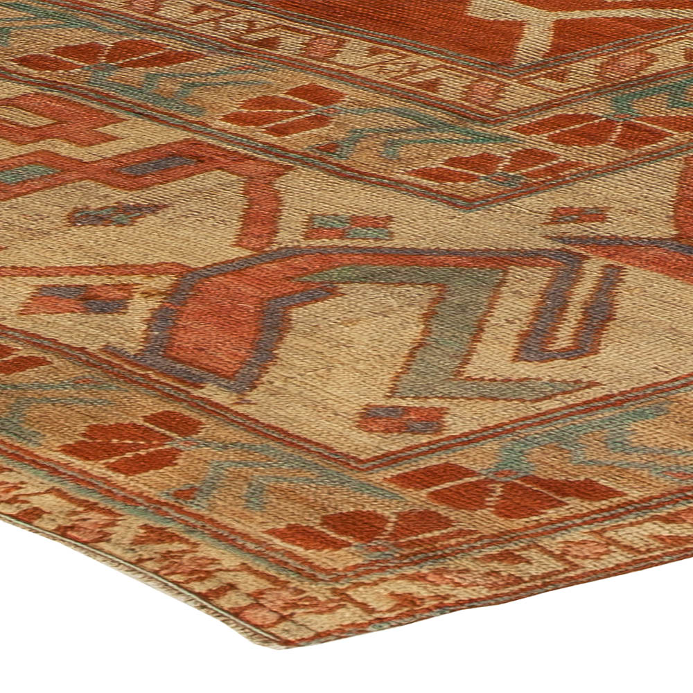 Turkish Brick Red and Sandy Beige Handwoven Wool Rug BB5437