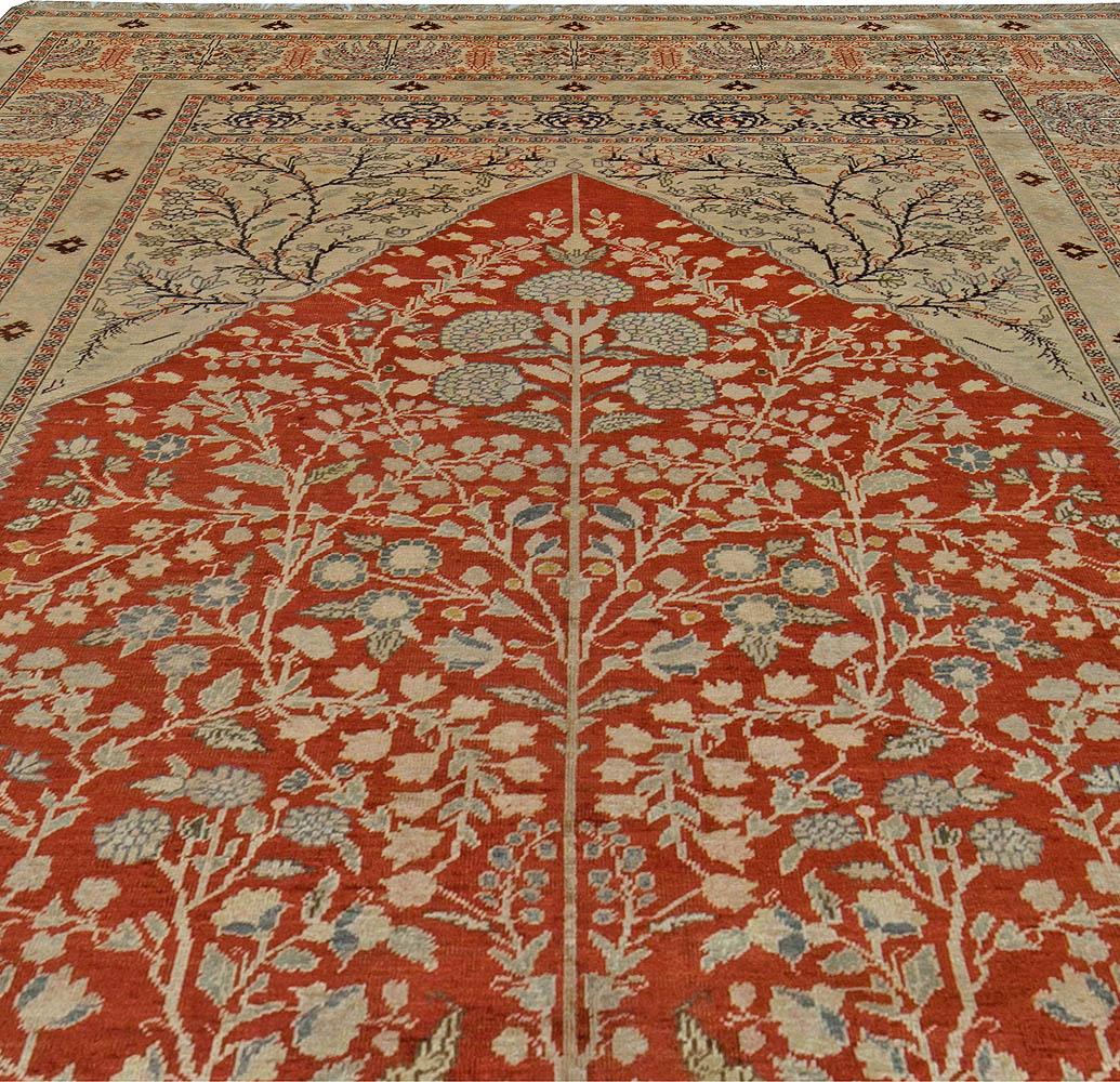 Vintage Turkish Ruby Red, Beige, Gray and Black Silk Rug BB5477
