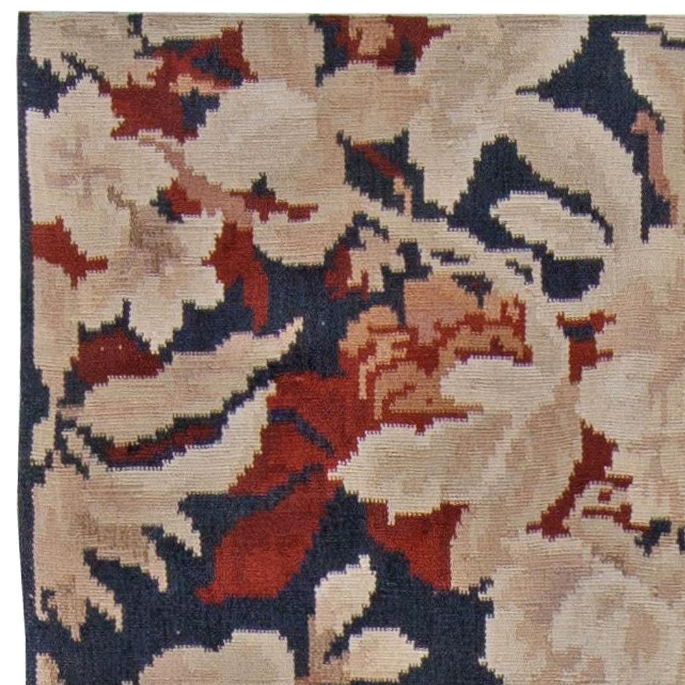 Contemporary Bessarabian Floral Handwoven Wool Rug N11030