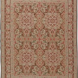 Contemporary Floral Red, Beige and Black Bessarabian Shah 2 Rug N11015