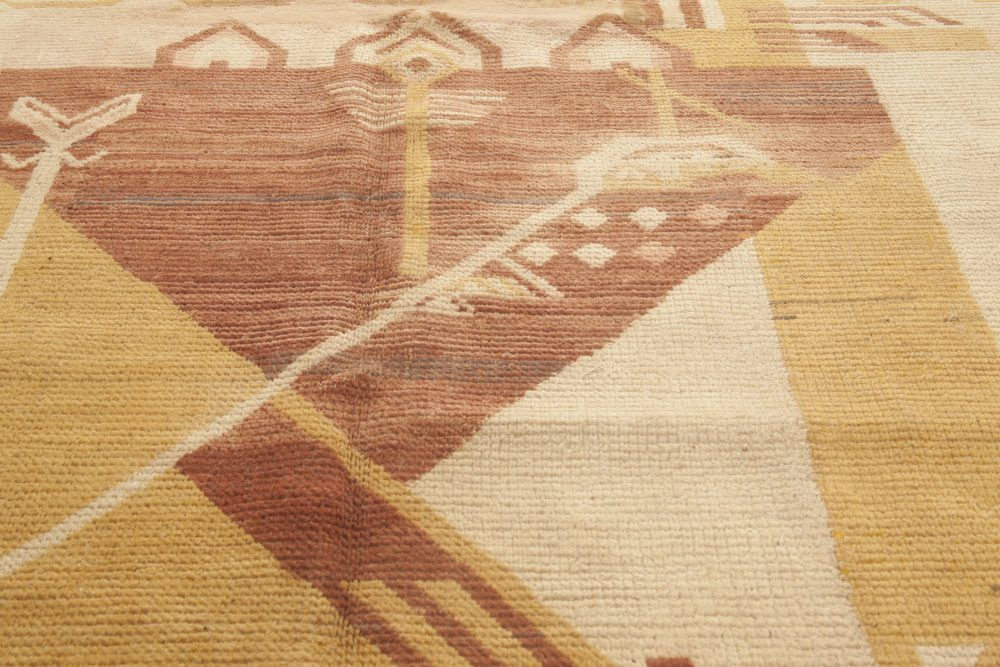 Art Deco Handmade Wool Rug in Shades of Yellow, Red and Gold BB4660