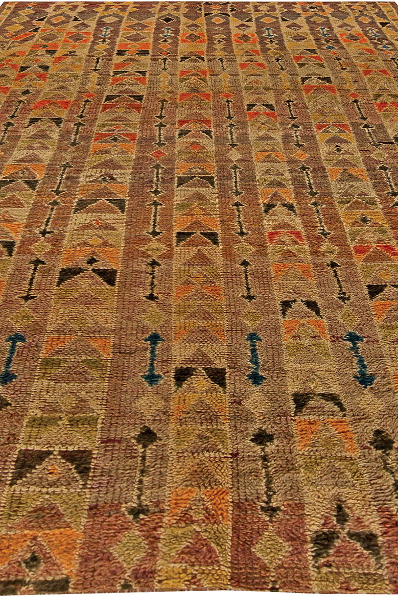 Vintage Tribal Handwoven Moroccan Natural Wool Rug with Geometric Design BB5787