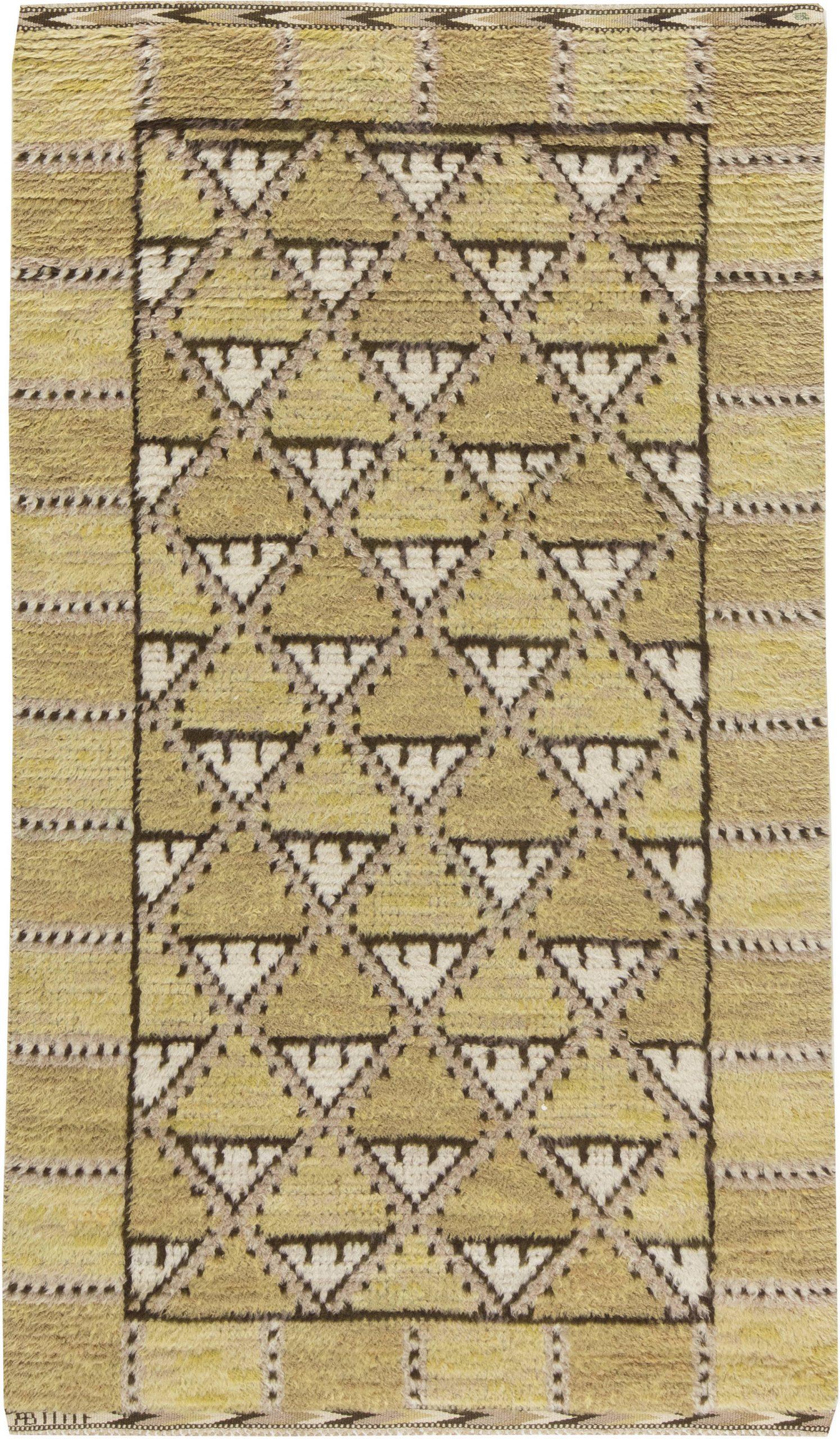 Vintage Swedish Pile weave Rug  by  Marta Maas Fjetterstrom BB6291