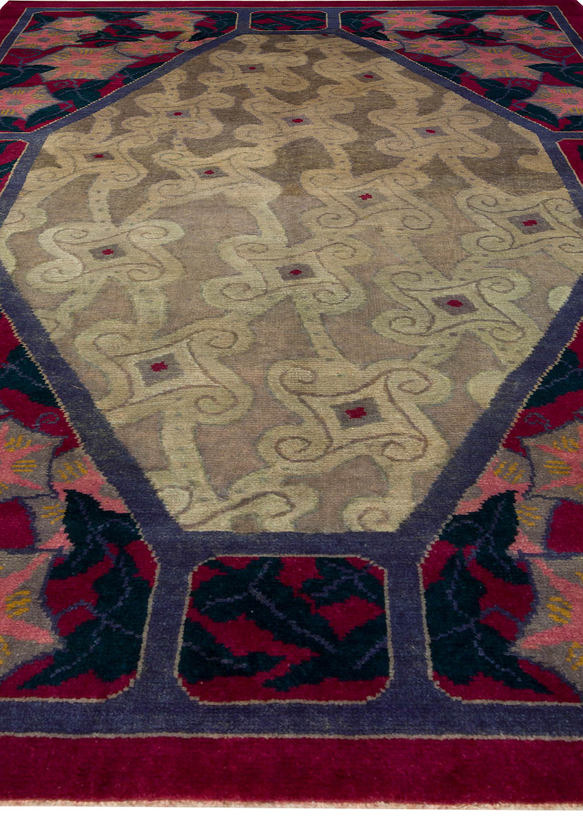 Vintage French Deco Rug Bb5080 By Dlb