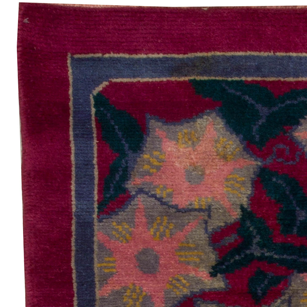 Vintage French Art Deco Purple, Gray, Pink and Blue Rug BB5080