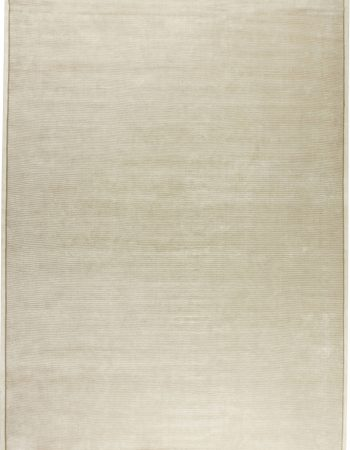 Contemporary Modern White Wool Cotton Solid Area Rug N11684
