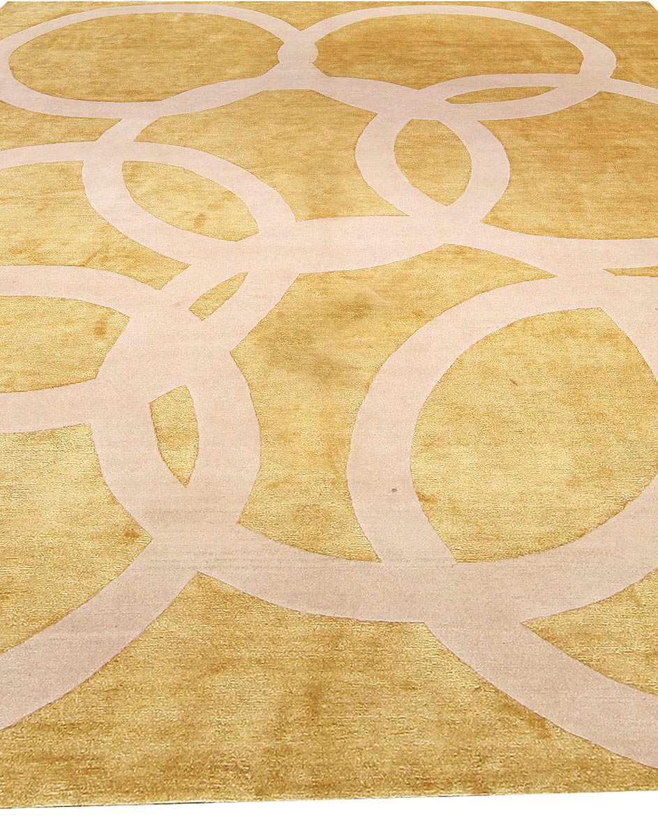 Contemporary Beige and Gold Quantum Circles Rug N10962