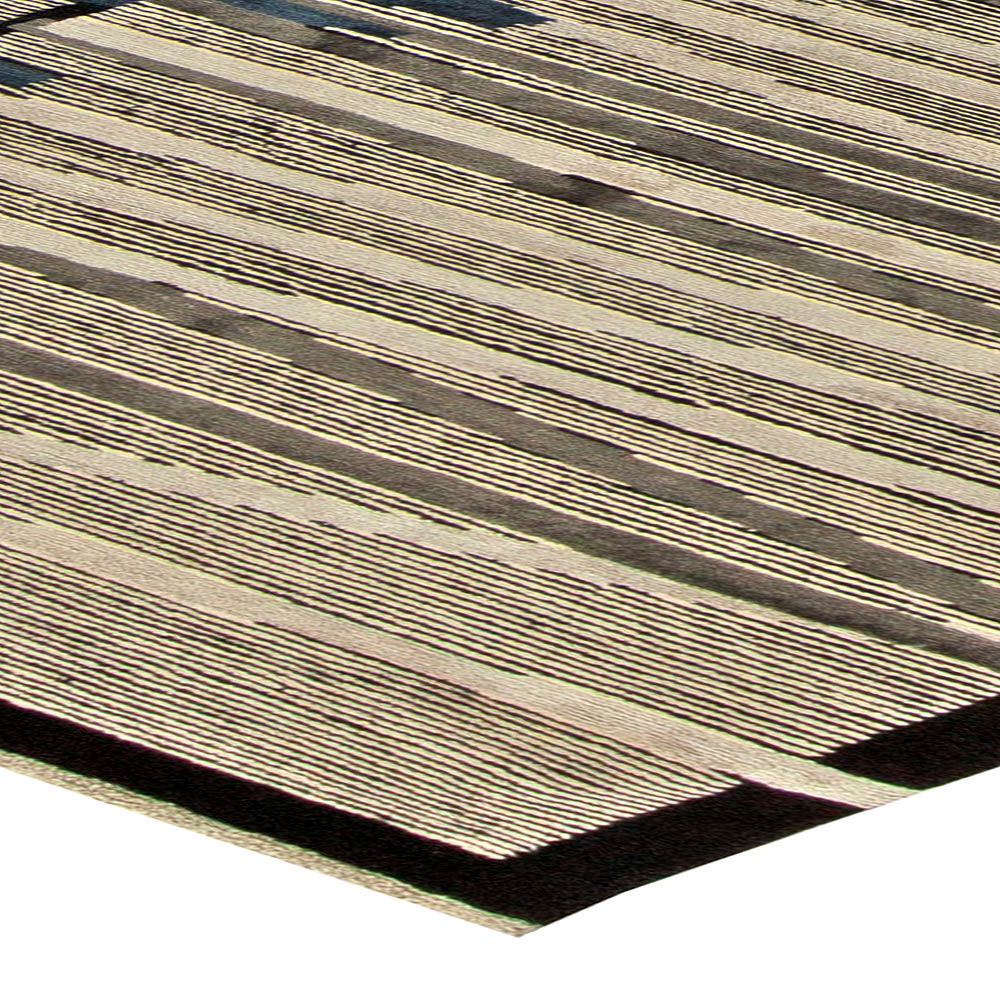 Art Deco Design Light Gray, Black and Navy Blue Handmade Wool Rug N11166