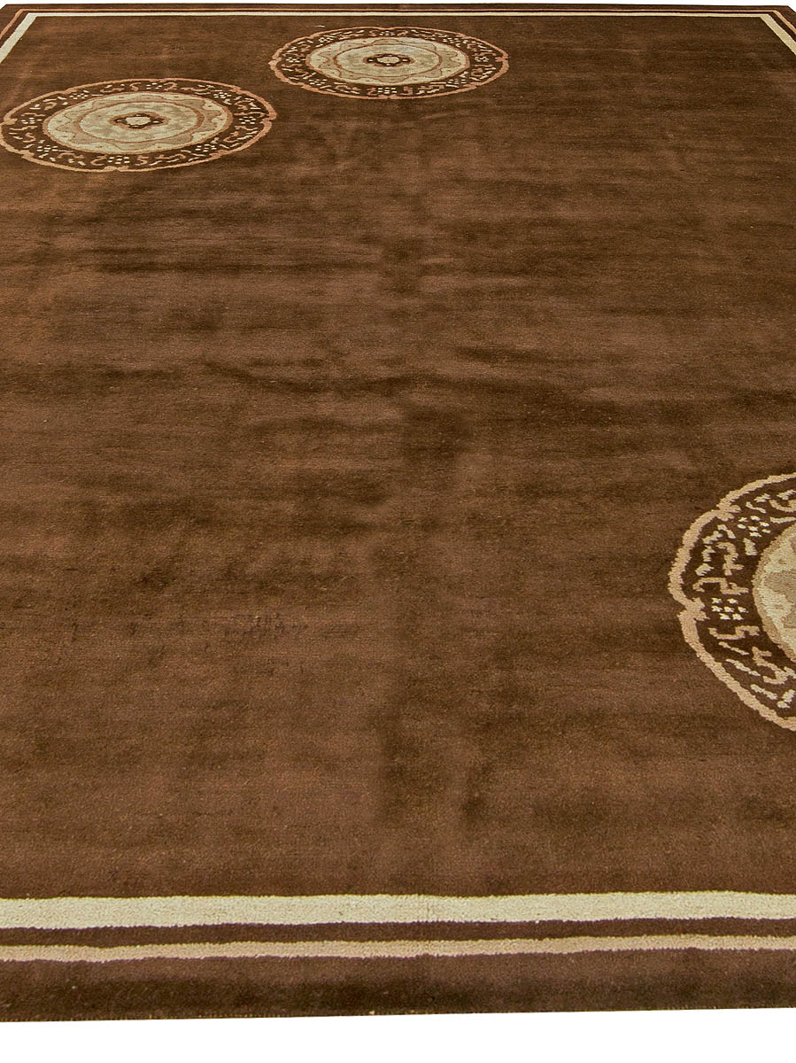 Chinese Art Deco Chocolate Brown, Ivory & Beige Hand Knotted Rug BB6080