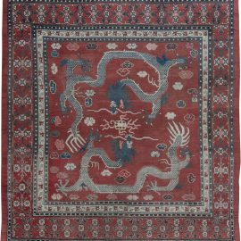 Vintage Chinese Royal Crimson and Blue Handwoven Wool Rug BB6360
