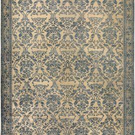 Vintage Chinese Art Deco Dark Blue and Beige Handwoven Wool Rug BB2696