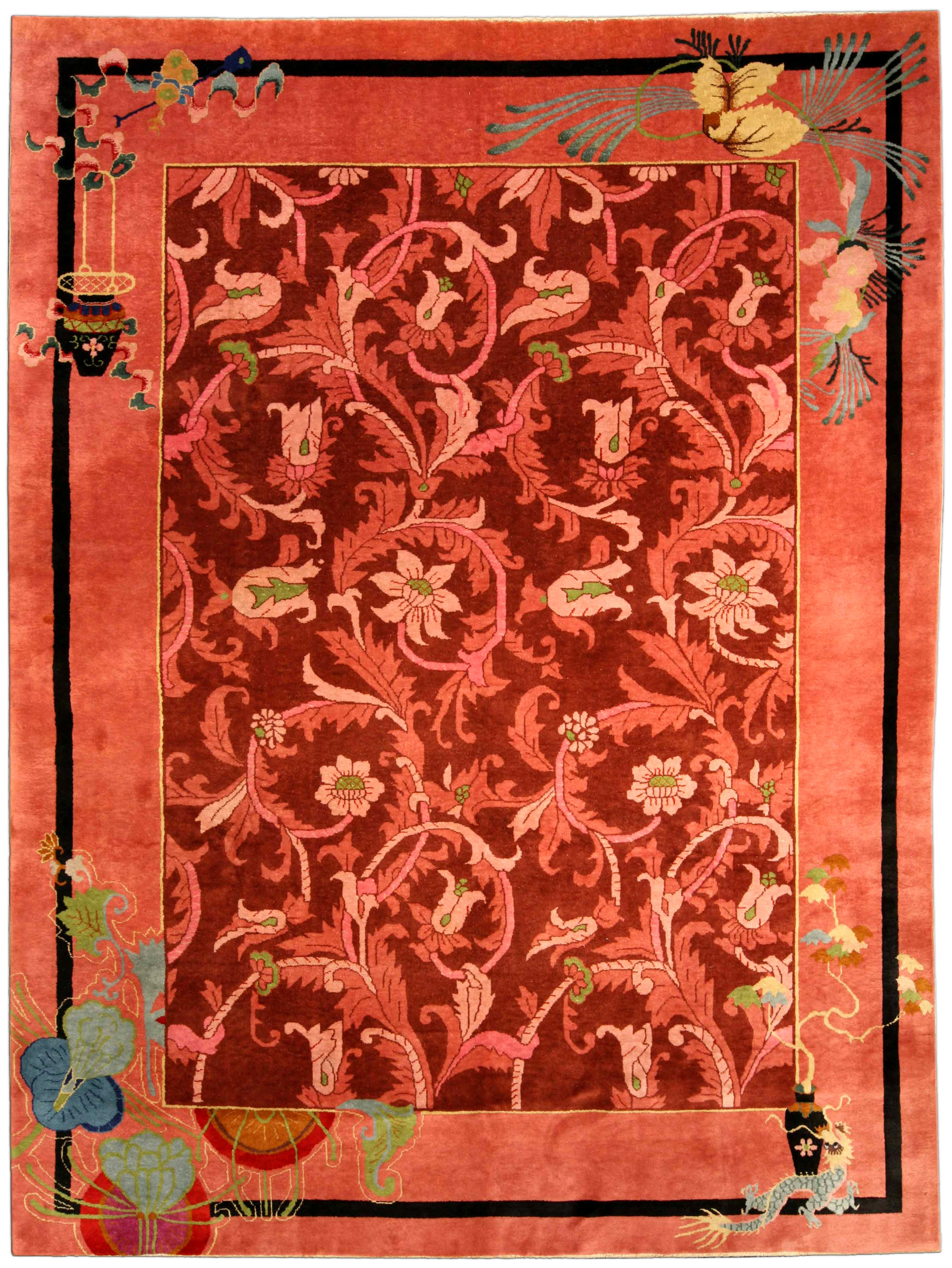 Vintage Chinese Art Deco Carpet Bb4169 By Dlb