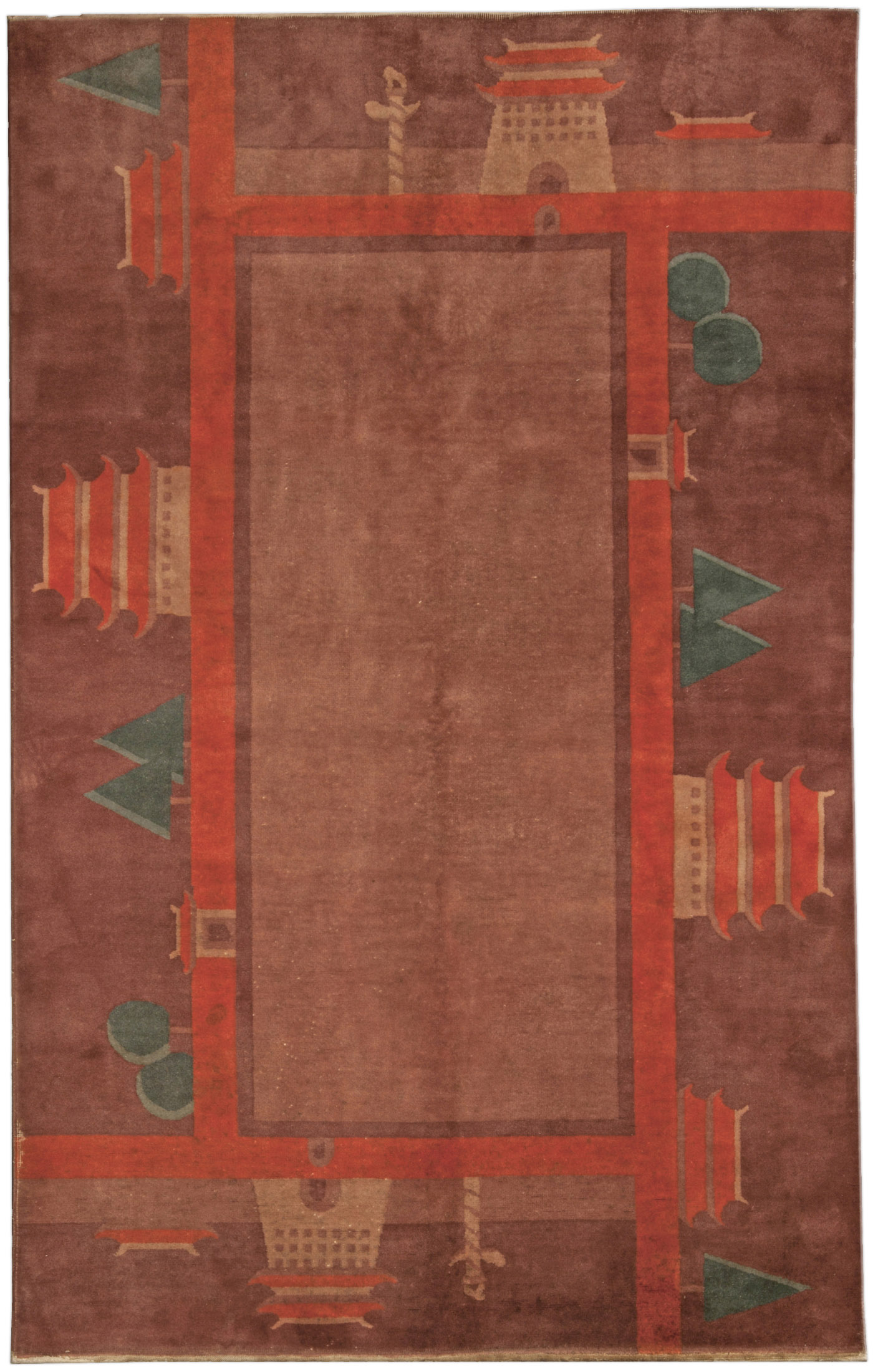 Vintage Chinese Deco Rug BB4803