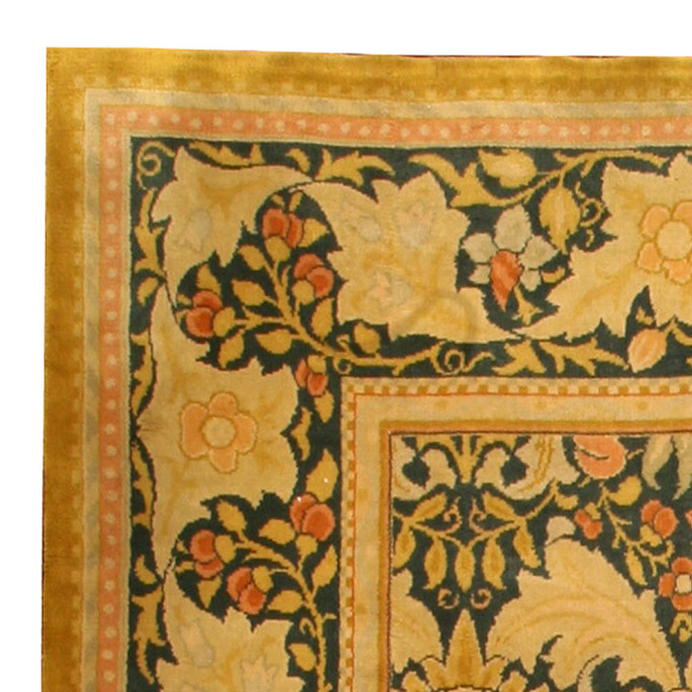 Vintage William Morris Style Yellow, Orange and Green Wool Rug BB0234