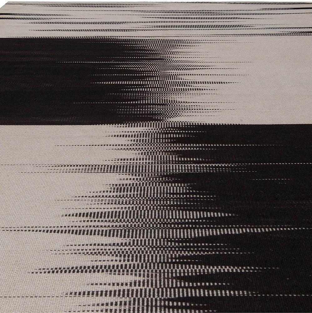 Artos, Turkish Modernist Chessboard Black and White Wool Kilim Rug N10858
