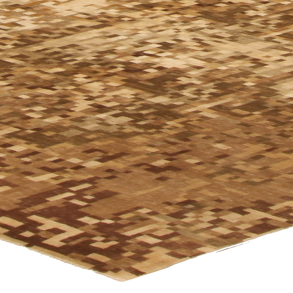 Contemporary Abstract Element Gold Beige Rug N10395