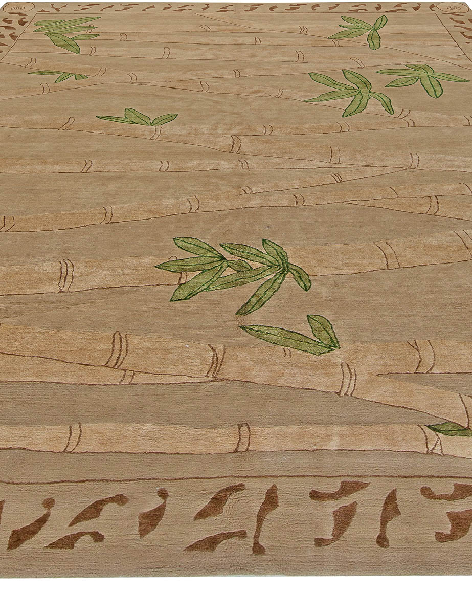 Bamboo Brown & Fresh Green Hand Knotted Wool & Silk Rug N10987