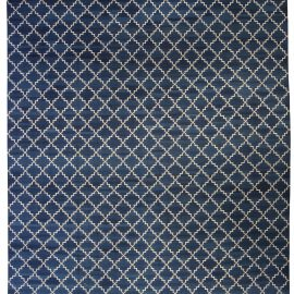 Contemporary Dhurrie Deep Blue and White Handwoven Cotton Rug N10389