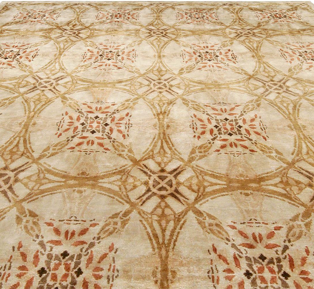 Contemporary Cinnamon Beige, Orange, Red and Black & Silk Rug N10948