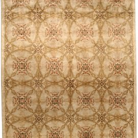 Contemporary Cinnamon Hand Knotted Silk Rug N10694