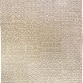 Modern Patchwork-Like MM Gray Hand Knotted Wool Rug N10974
