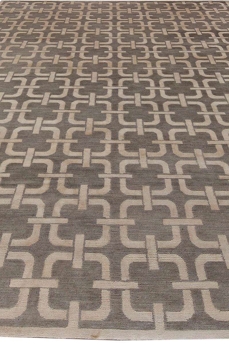 Contemporary Geometric Design Gray and Beige Rug N10774