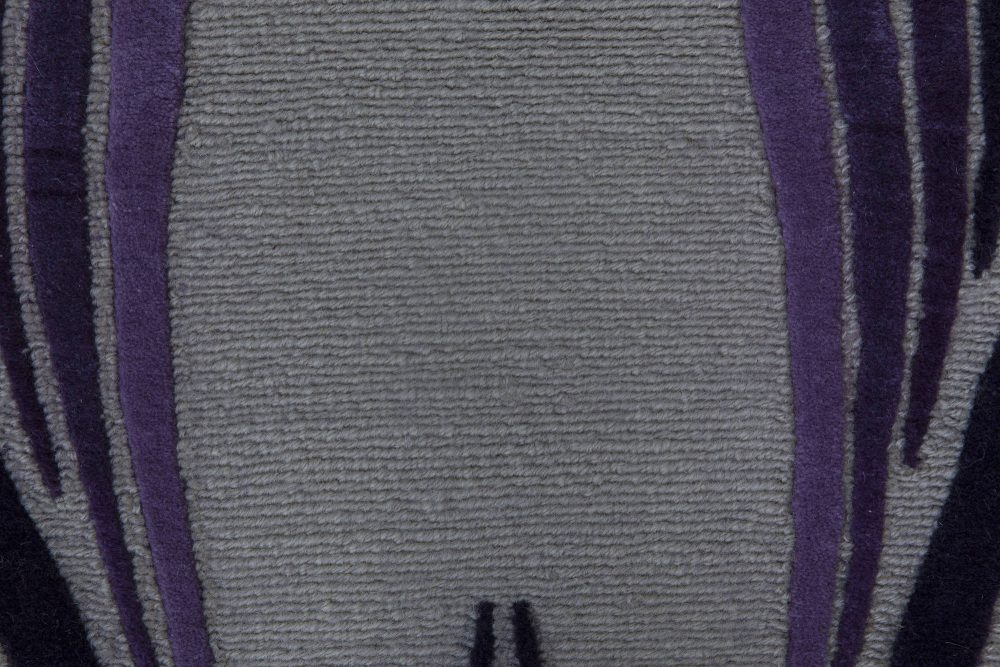 Contemporary Art Deco Inspired Tibetan Rug in Gray, Violet, and Black N11409