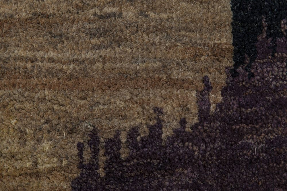 Contemporary Nepalese Light Brown, Dark Taupe and Black Hemp Rug N11532