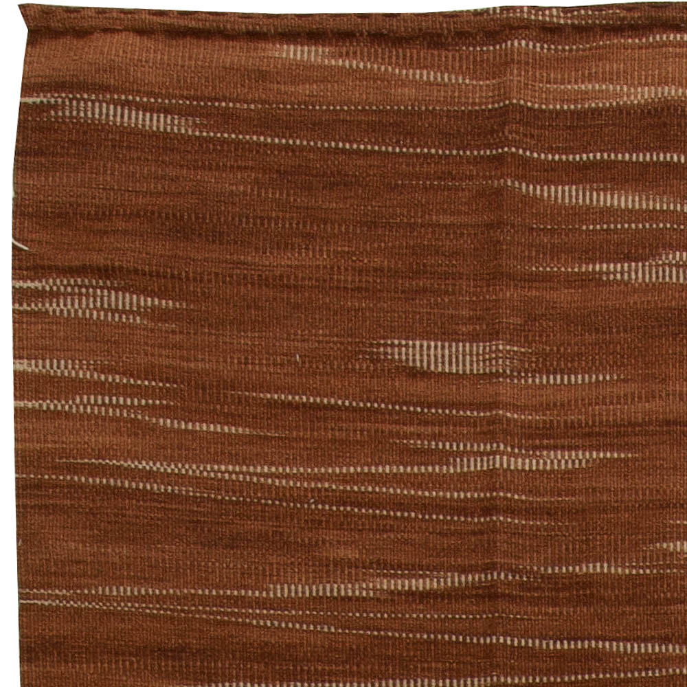 Brown and Off-White Honaz, Turkish Modernist Wool Kilim Rug N10853