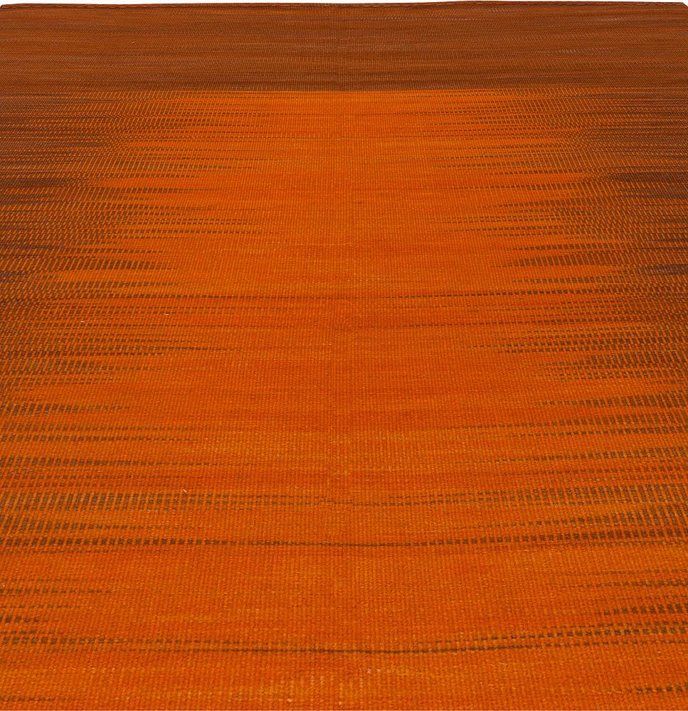 Karatas, Turkish Modernist Orange and Brown Kilim Rug N10857