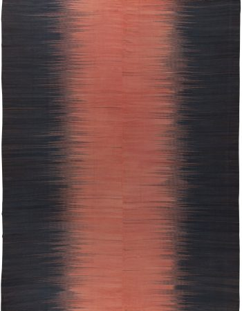Modern Striped Beige and Brown Handwoven Wool Rug N10882