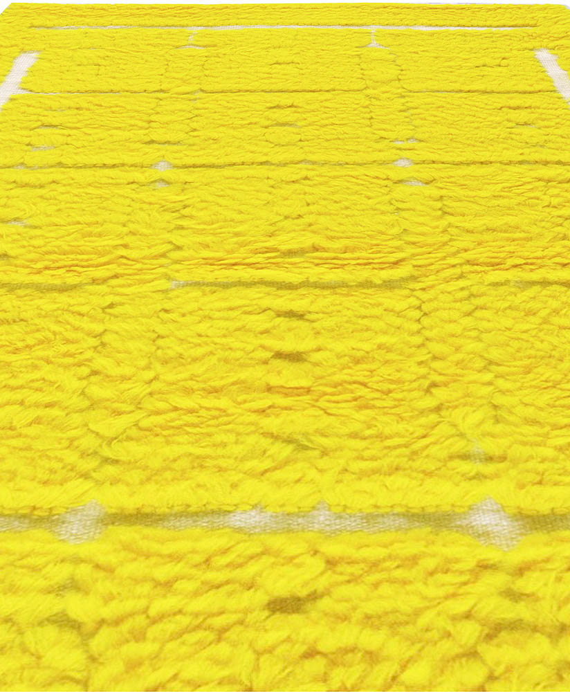 Modern Tulu Bright Yellow Hand Knotted Wool Rug N11112