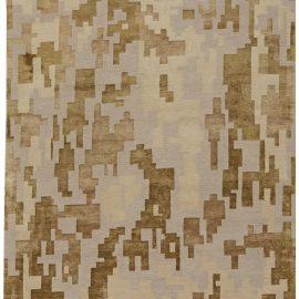 Arthur Dunnam Geometric Design Beige & Golden Brown Wool & Silk Rug N10755