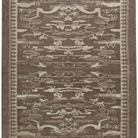 Contemporary Floral Brown and White Hand Knotted Wool Chinese Rug N10765