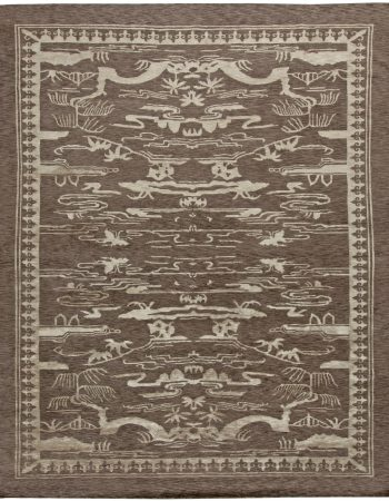 Art Deco Inspired Beige and Brown Handwoven Emile Jacques Ruhlmann Rug N10010